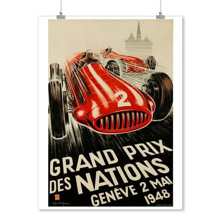 Switzerland Geneve Monument (Grand Prix de Nations - Geneve Vintage Poster (artist: Geneux) Switzerland c. 1948 (9x12 Art Print, Wall Decor Travel)