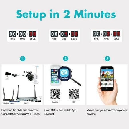 Ktaxon 4CH HDMI NVR 1MP 720P Wireless IP CCTV WIFI Surveillance