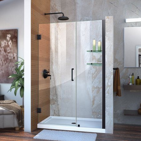 DreamLine Unidoor 46-47 in. W x 72 in. H Frameless Hinged Shower Door with Shelves in Satin (Intrigue Shower Door)