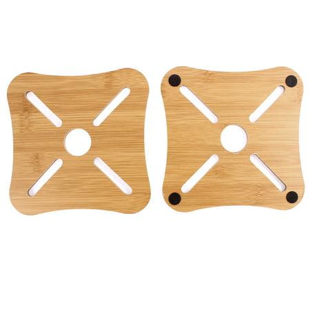 Unique Bargains 2pcs Kitchen Bamboo Square Shaped Cup Plate Heat Resistant Mat Placemat Pad