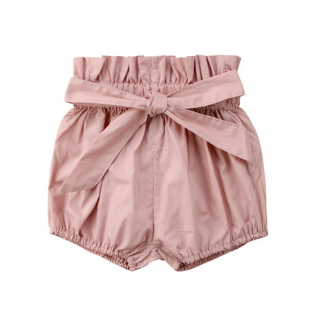 Kiss Cotton Shorts - Newborn Toddler Baby Girl Boy Kids Short Pants Bottoms PP Bloomers Floral Plaids Solid Shorts Pink 9-18 Months