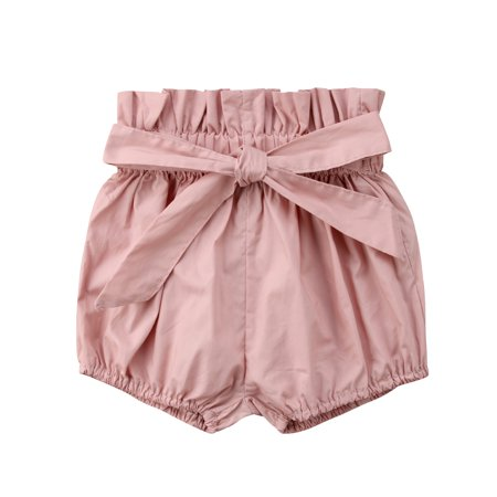 Newborn Toddler Baby Girl Boy Kids Short Pants Bottoms PP Bloomers Floral Plaids Solid Shorts Pink 9-18 Months