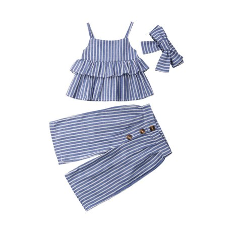 Kid Baby Girl 3pcs Clothes Ruffle Crop Tops T Shirt Wid Led Pants Outfits Set Blue 1-2