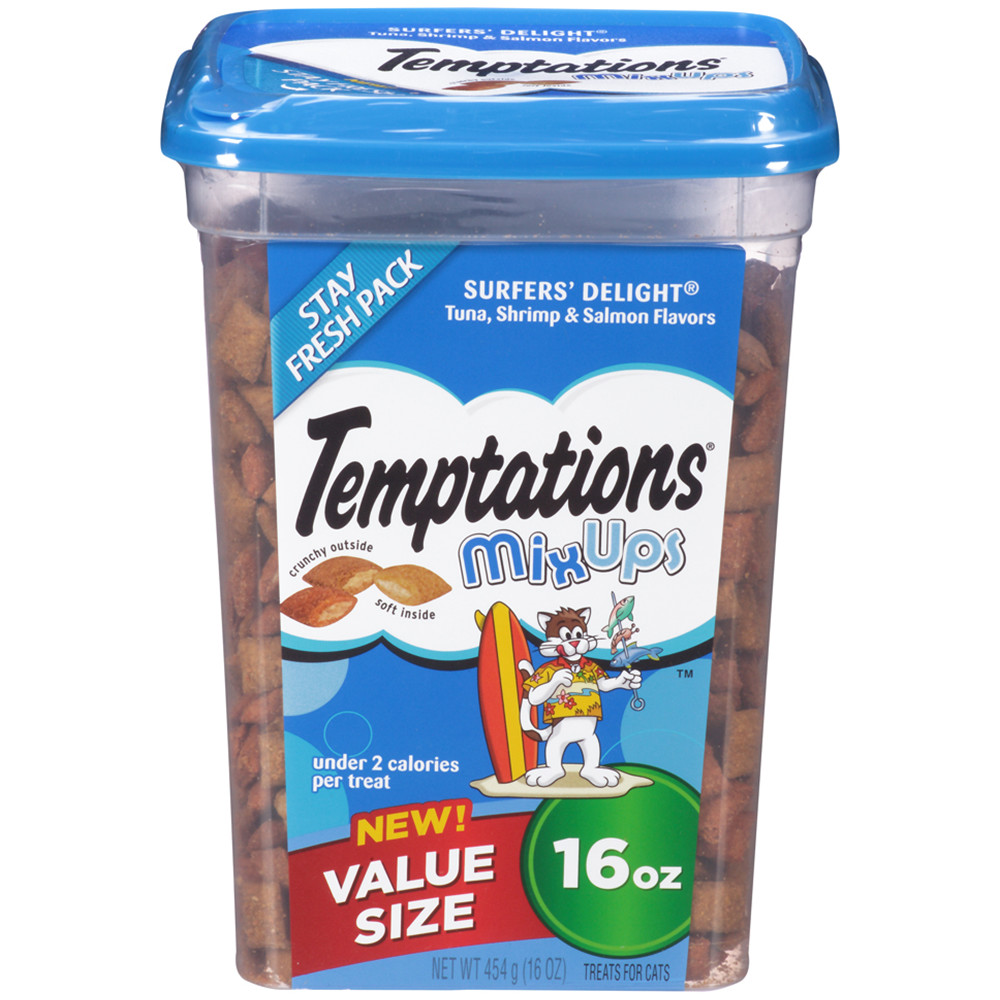 TEMPTATIONS MixUps Treats for Cats SURFER'S DELIGHT Flavor 16 Ounces