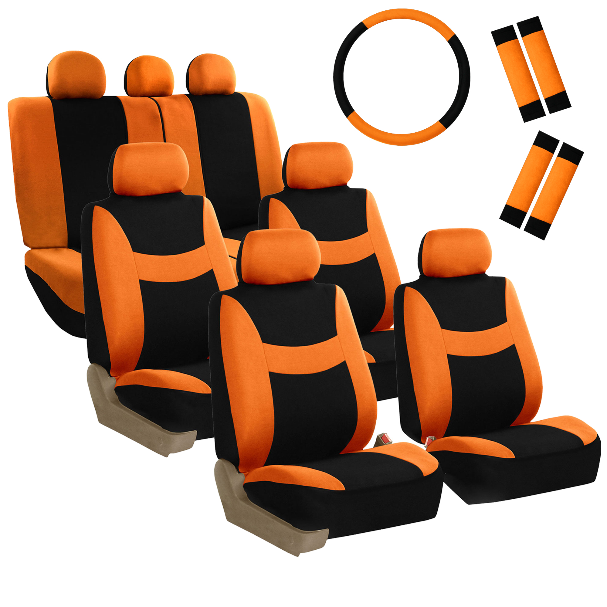 FH Group Light & Breezy Seat Covers for Auto, 3 Row 7 Seater Full Covers with Steering/Belt Pad Cover, Orange and Black