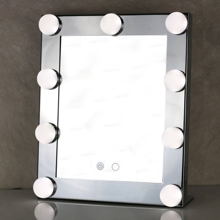 Large Four Light Vanity - LED Vanity Lighted Hollywood Countertop Makeup Mirror with Lights Dimmer Stage Beauty Touch
