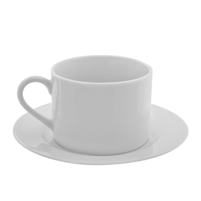 10 Strawberry Street Z-Ware White Porcelain Cup and Saucer (Set of 6) by 10 Strawberry Street