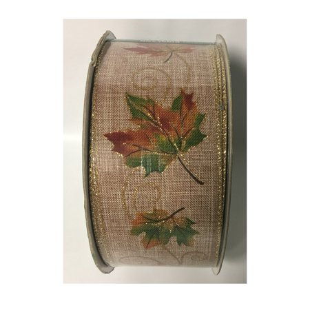 - Fall Maple Leaves & Swirls Gold Wire Edge Premium Autumn Holiday Wreath Bow Gift Wrapping Ribbon 2.5
