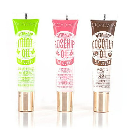 Broadway Vita-Lip Clear Lip Gloss 0.47oz/14ml (3PCS - Mint & Coconut & Rosehip Oil) Mint Moisturizing Lip Gloss