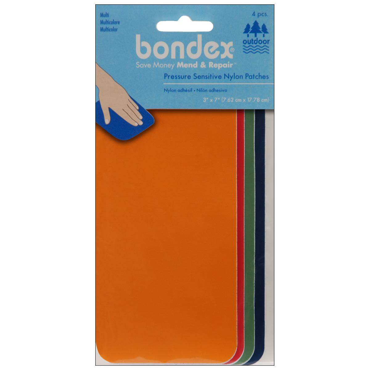 "Bondex Nylon Repair Fabric 3""X7"" 4/Pkg-Orange, Red, Green & Royal"