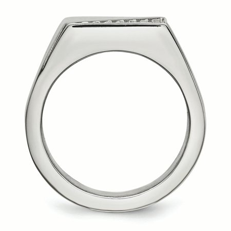 Stainless Steel Polished with Crystals Ring Size 12 - image 1 of 3