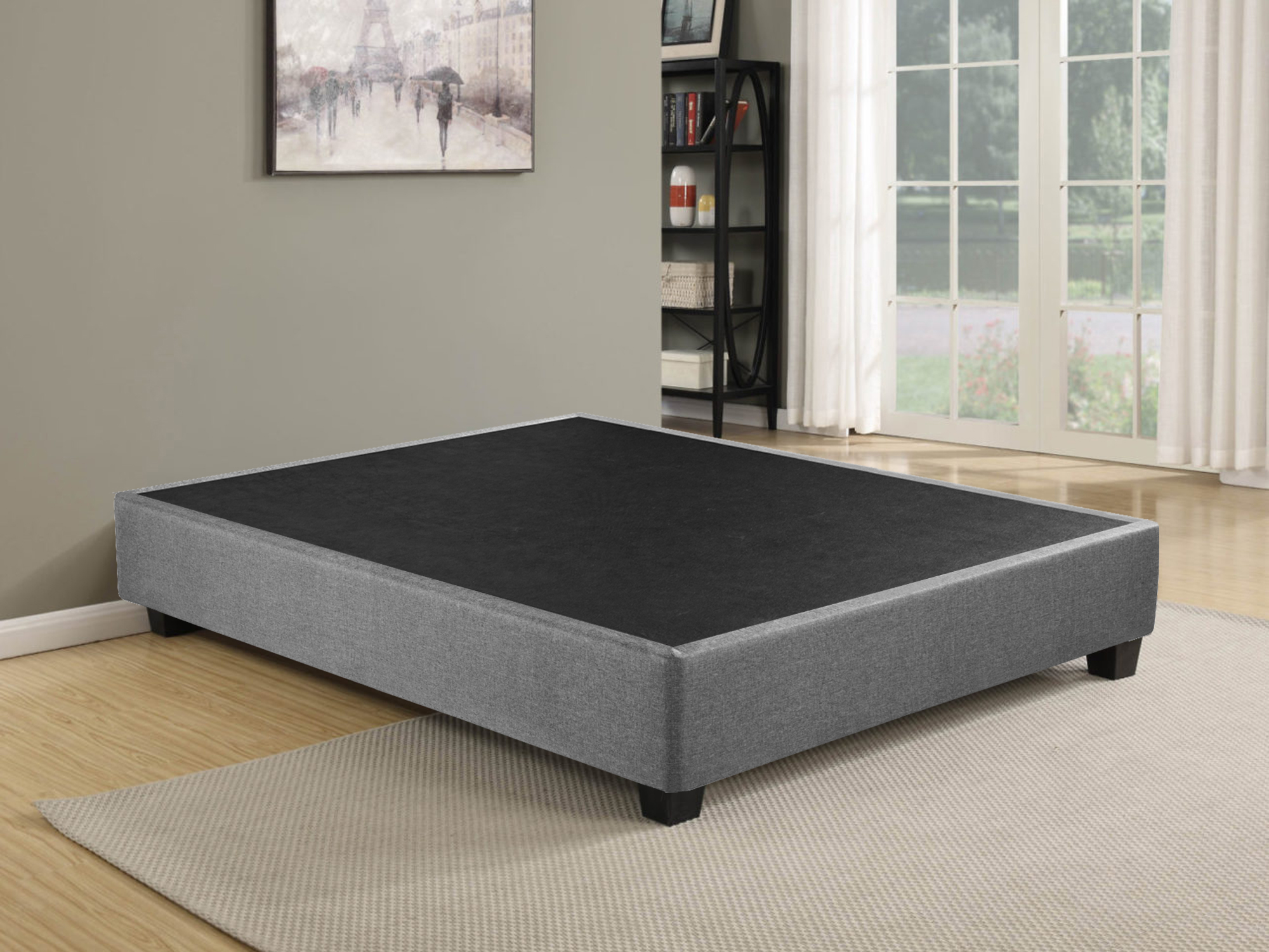 Wayton Box Sping Foundation Platform Bed For King Size 80 X 78 Mattress Comes With Legs To Eliminate Need For Bed Frame 79x72x8 Walmart Com Walmart Com