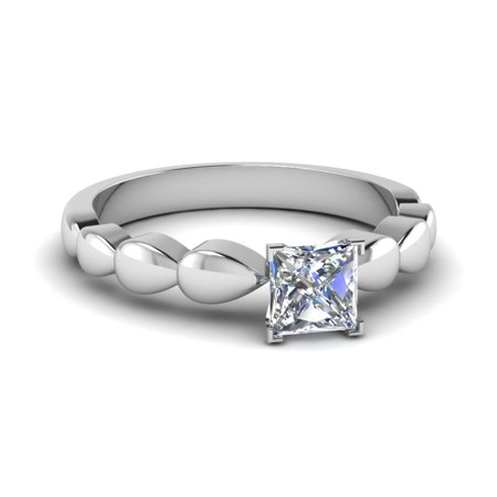 Metal Drop Solitaire Engagement Ring 0.30 Carat Princess Cut Diamond In 14K White Gold GIA Certified -Fascinating -