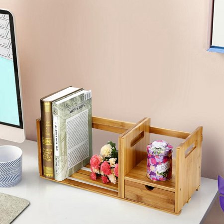 Bamboo Adjustable Bookshelf Book Storage Organizer with Single Drawer for Bedroom Office