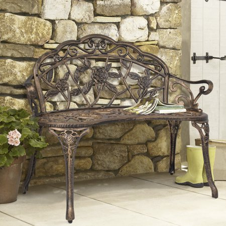 Best Choice Products Floral Rose Accented Metal Garden Patio Bench w/ Antique Finish - -