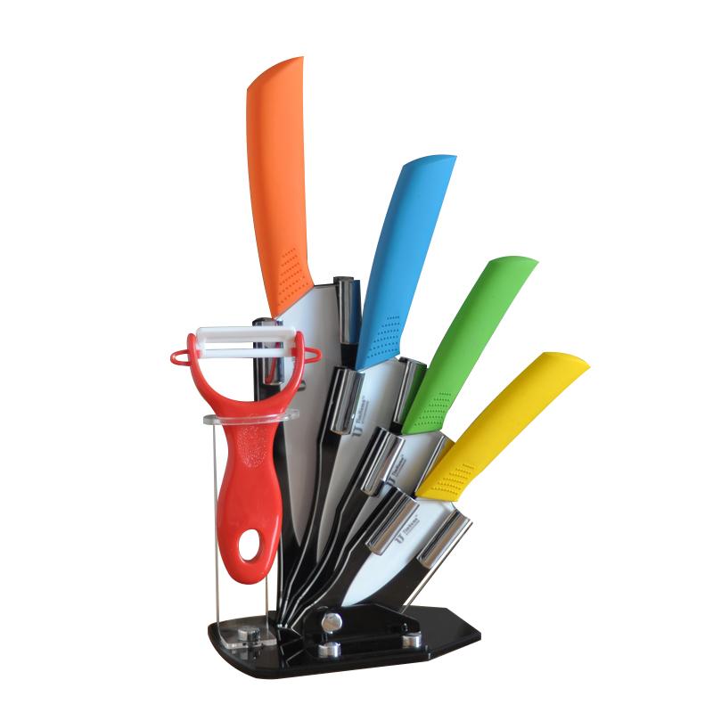 6 Pcs Ceramic Cutlery Knife Block Set Tim Home Multicolored (TJC-036-MC)