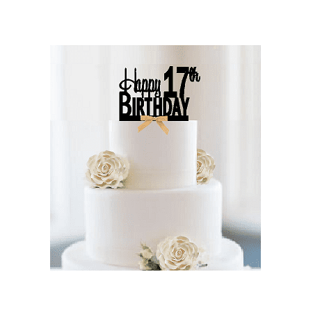 Item#017CTGR - Happy 17th Birthday Elegant Cake Decoration Topper with Gold Bow](Bow Tie Cake)