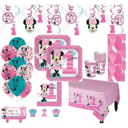 Minnie Mouse 1st Birthday Mega Kit for 16 Guests (Mini Mouse Birthday)