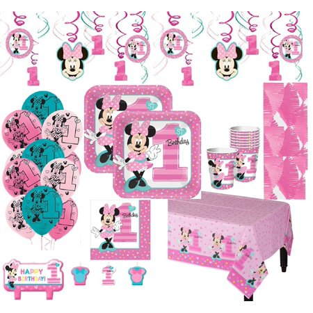 Minnie Mouse 1st Birthday Mega Kit for 16 Guests](Minnie Mouse Birthday Backdrop)