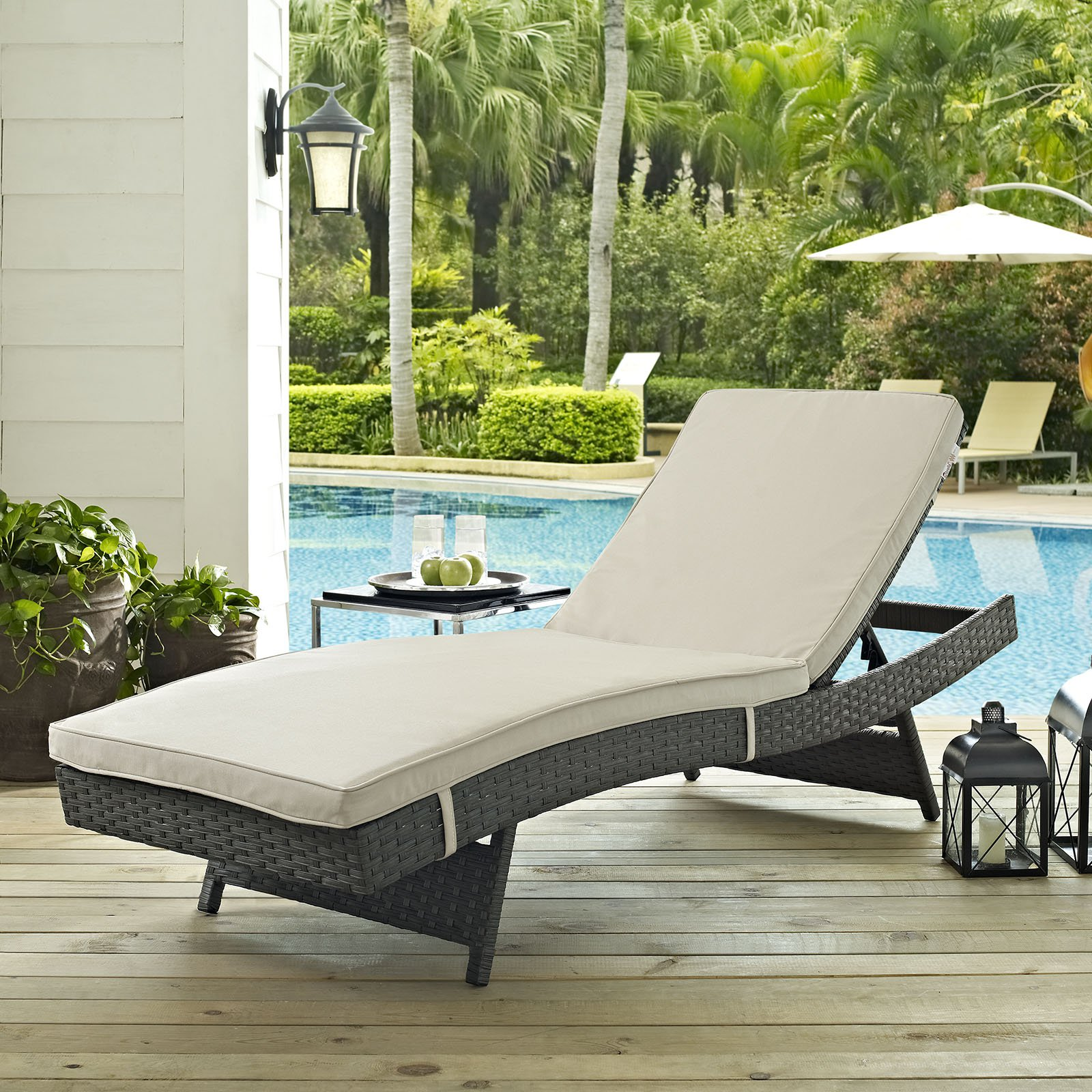 Modway Sojourn Outdoor Patio Sunbrella Chaise, Multiple Colors