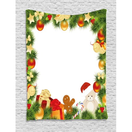 Kids Christmas Tapestry, Garland Frame Design with Evergreen Fir Tree Bear Toy and Gingerbread Man, Wall Hanging for Bedroom Living Room Dorm Decor, 40W X 60L Inches, Multicolor, by Ambesonne