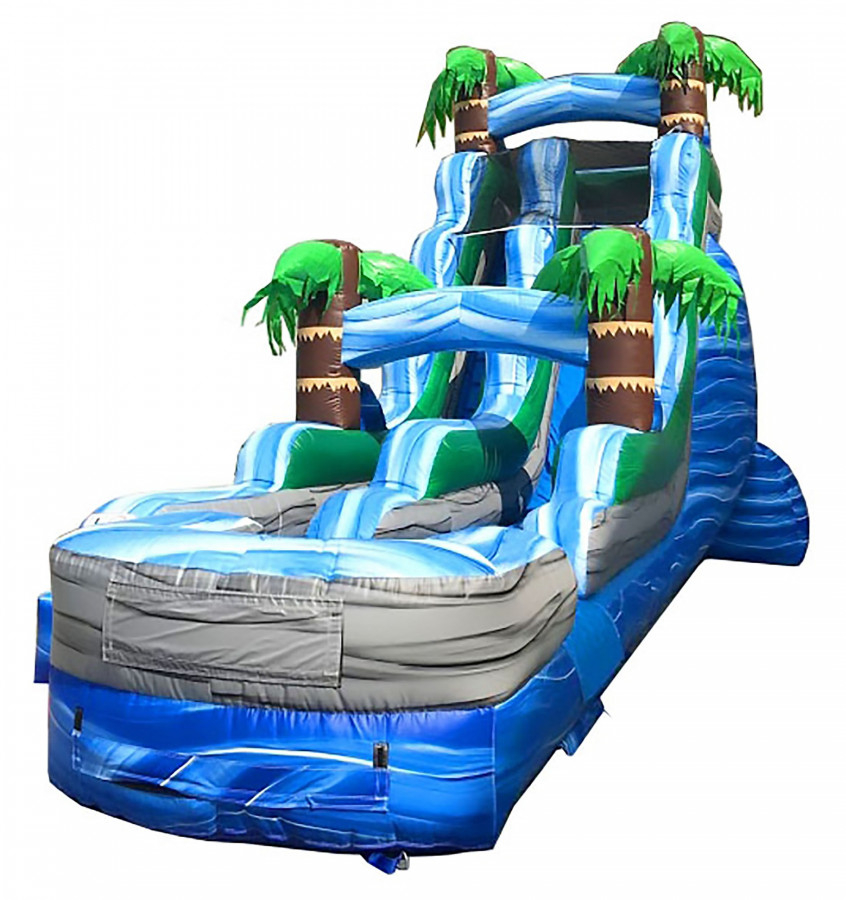 Pogo 18' Tropical Commercial Kids Jumper Inflatable Water Slide with Blower