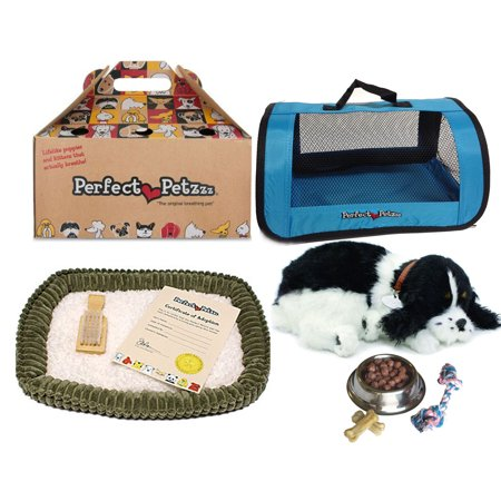 Cocker Spaniel Treat - Perfect Petzzz Huggable Breathing Puppy Dog Pet Bed Cocker Spaniel with Blue Tote For Plush Breathing Pets, Dog Food, Treats, and Chew Toy