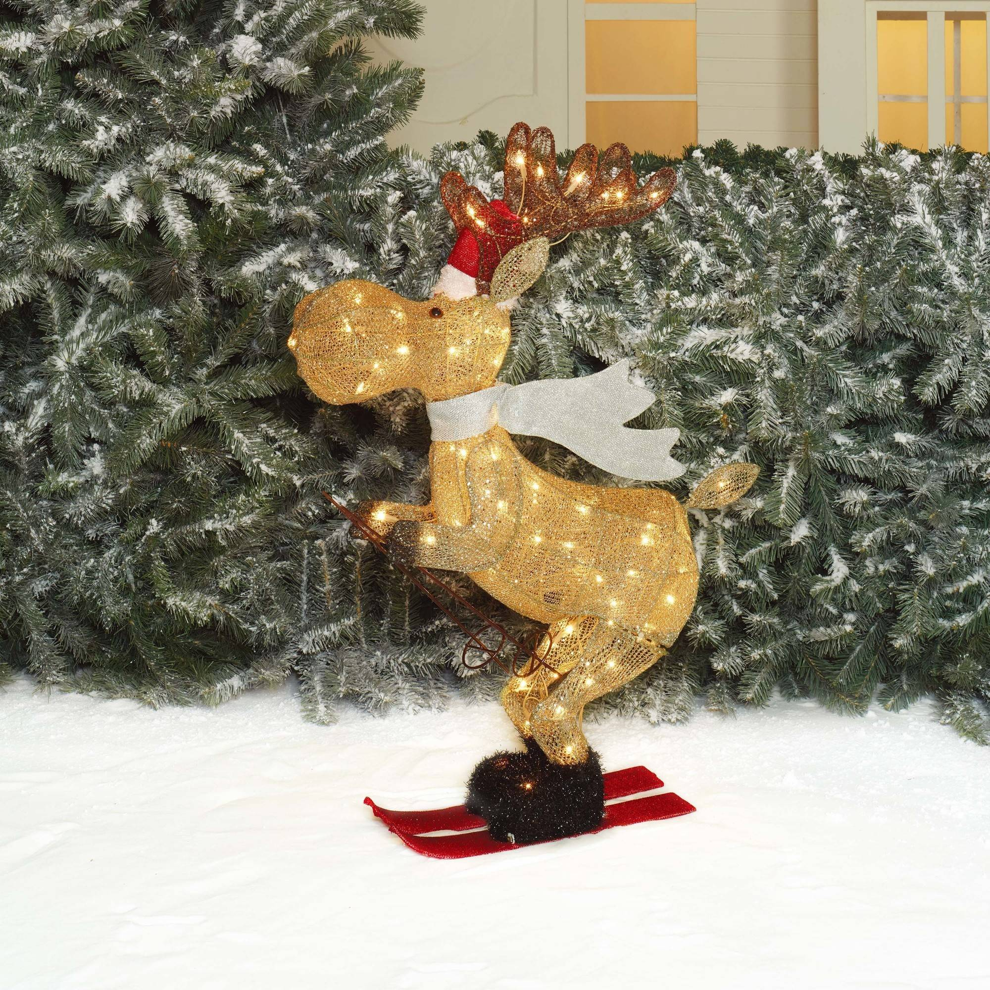 "Holiday Time Christmas Decor 36"" Glittering Mesh Skiing Moose Sculpture"