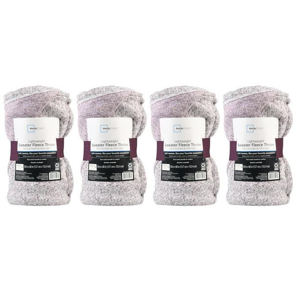4 Pack Mainstays Sweater Fleece Throw Blanket 50 X 60 Purple Walmart Com Walmart Com