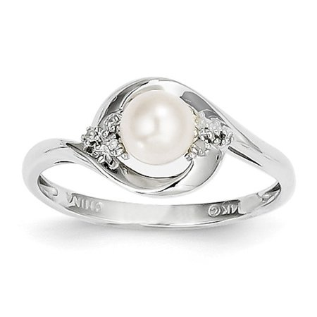 - 14k White Gold 6x4 Oval Genuine Pearl Diamond Ring. Carat Wt- 0.02ct