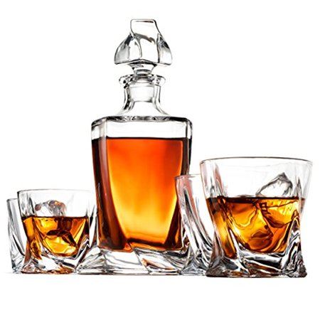 Crystal Whiskey Decanter Set - High-End 5-Piece Whiskey Decanter Set, Weighted Bottom European Design 12 oz whiskey Glasses 100% Lead Free Crystal Clear For Scotch Liquor Bourbon Etc. with Gift Box (Tall Crystal Decanter)