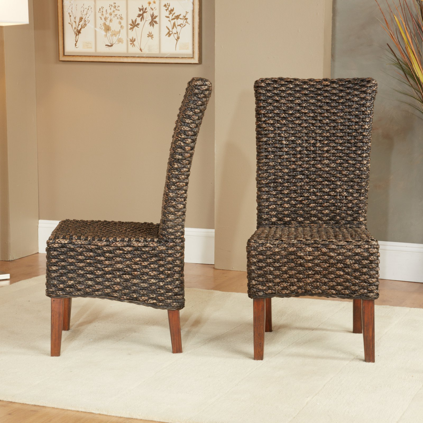 Modus Meadow Wicker Dining Side Chair - Brick Brown - Set of 2