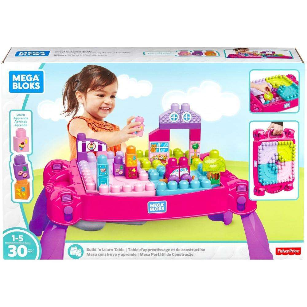 Mega Bloks Big Builders Build 'N Learn Table (Pink) by Mega Bloks