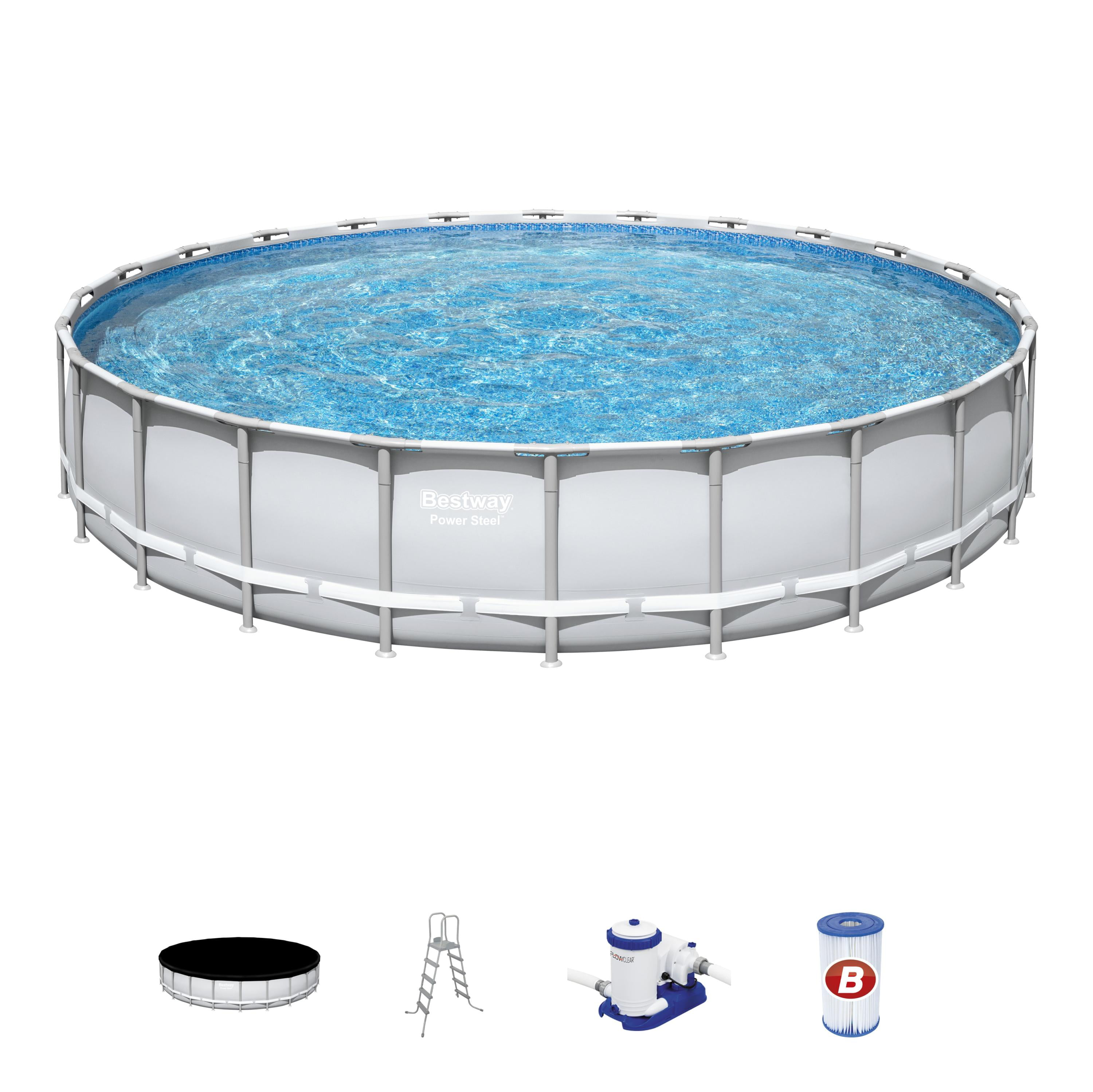 Bestway Power Steel 24 X 52 Frame Swimming Pool Set With Pump Ladder And Cover Walmart Com Walmart Com