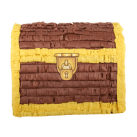 Treasure Loot Chest Party Pinata Brown & Gold 14in x 11in