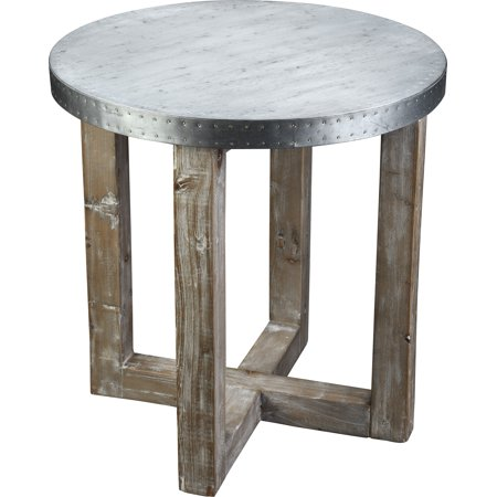 Burnham Home Designs Murray Side Table, Natural Finish with Zinc Top ()