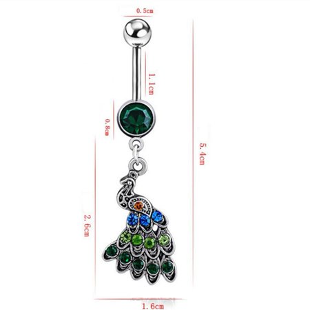 Qiilu Women Special Peacock Shape Navel Button Alloy Body Jewelry, Alloy Navel Button,Navel Button - image 4 of 6