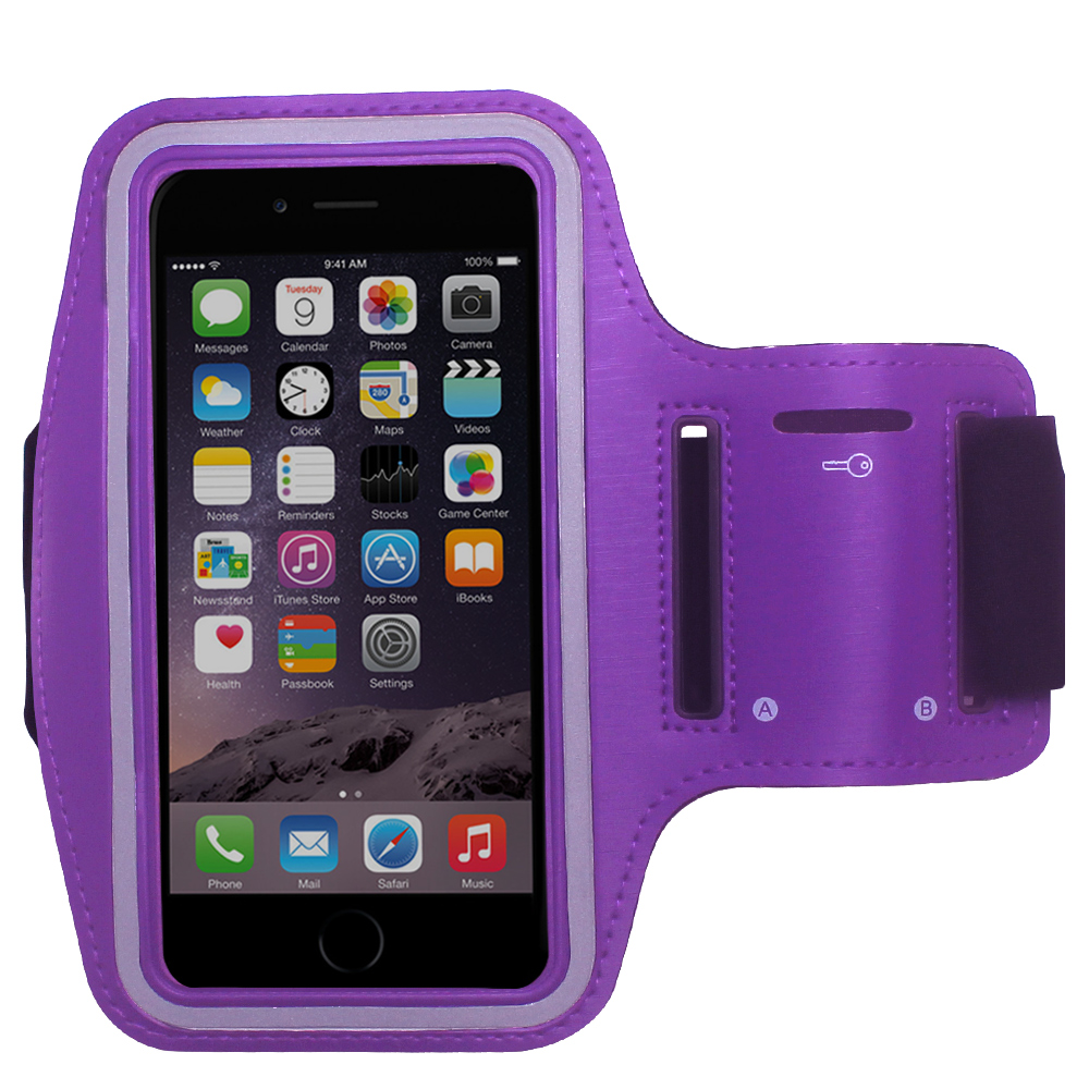 Purple Water Resistant Cell Phone Armband Running Sports Case for Apple iPhone 8 Plus / 7 Plus / 6S Plus / 6 Plus - Adjustable Velcro, Reflective, with Screen Protection