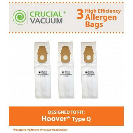 3 Hoover Type Q Allergen Bags, Part # AH10000