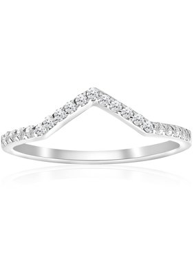 1/4ct Diamond Curved V Shape Wedding Ring Womens Stackable Wedding Band 10k Gold