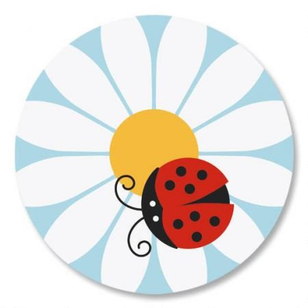 Ladybug Daisy Envelope Sticker Seals - Set of 144 (1 design) sticker seals on 6 8-1/2