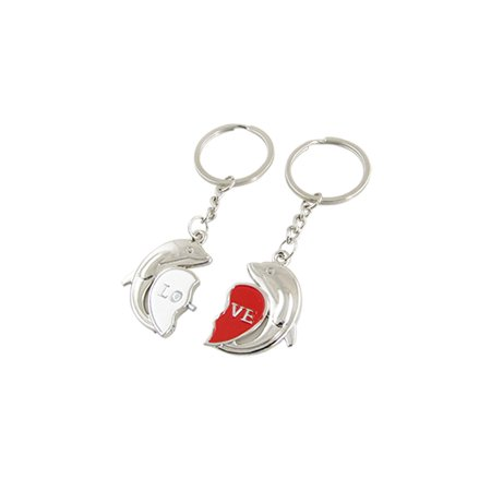 Words Silver Tone Dolphin Shape Pendant Keyrings 2