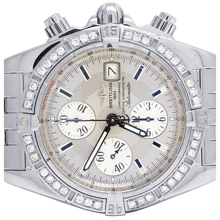 Breitling Custom A13356 Evolution Chronomat 43MM Diamond Watch 2.5 Ct Custom Breitling A13356 Evolution Chronomat 43MM Silver Dial Diamond Watch 2.5Ct
