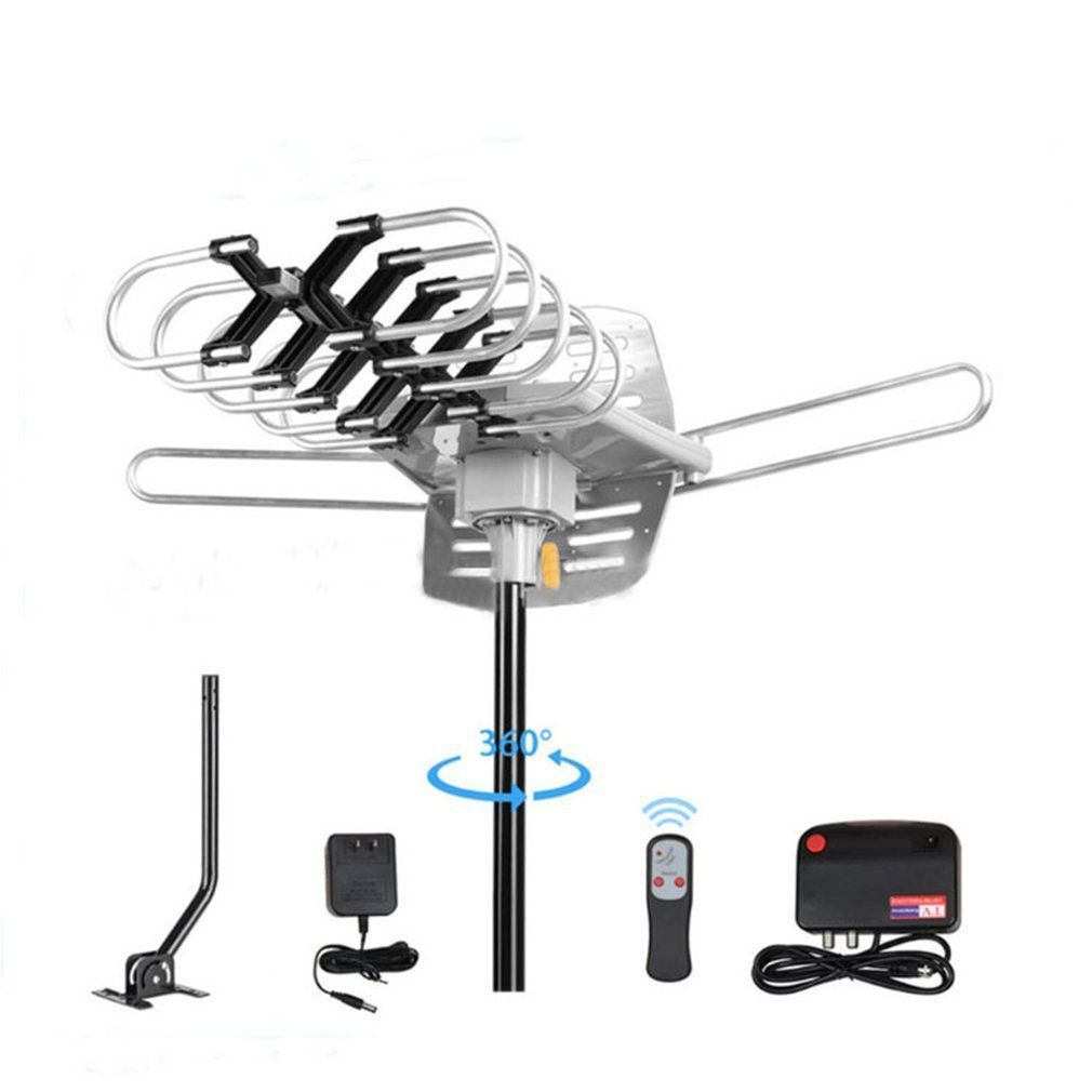 Ktaxon 150MILE OUTDOOR TV ANTENNA MOTORIZED AMPLIFIED HDTV GAIN 36dB UHF VHF + Stand