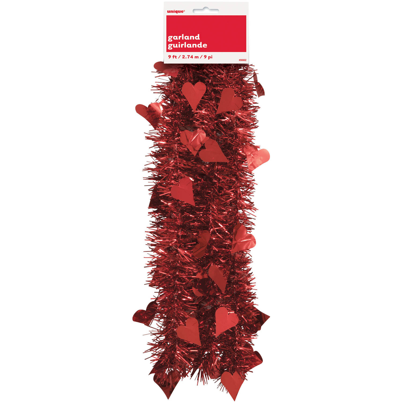 9' Red Heart Tinsel Garland