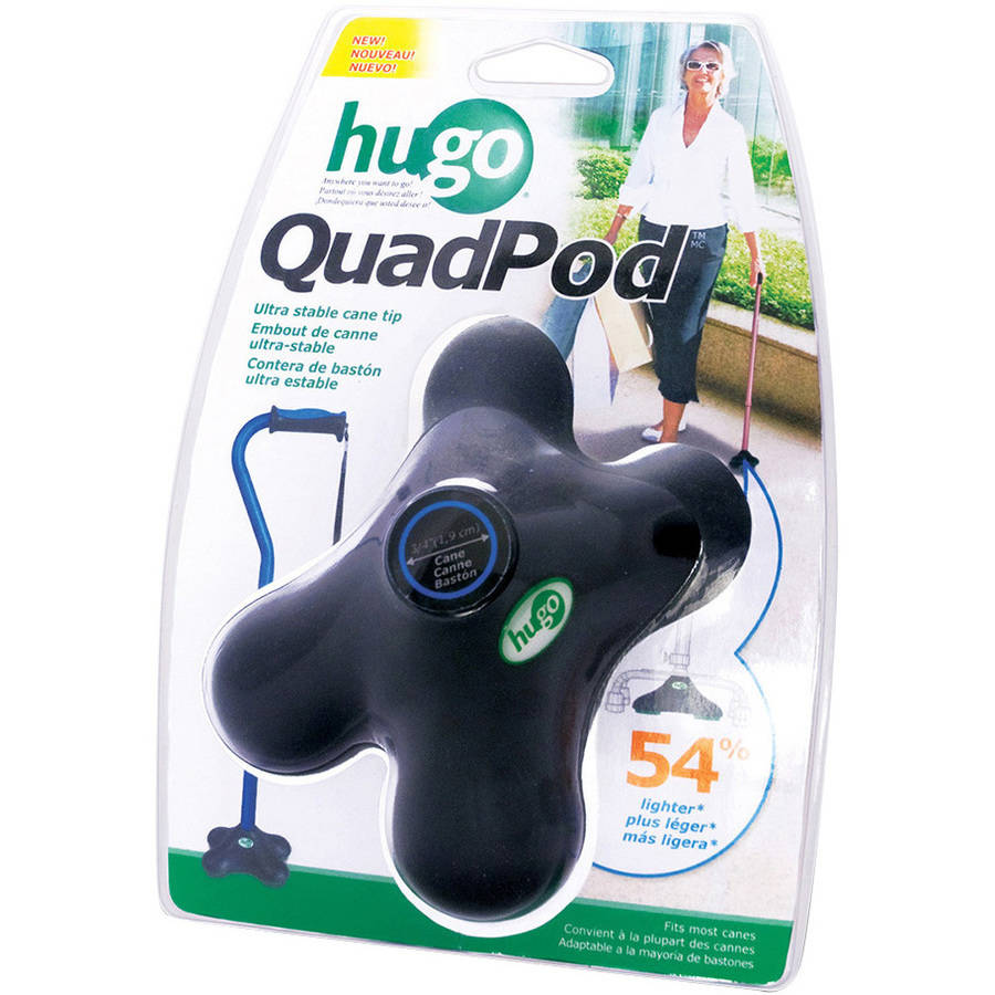 Hugo QuadPod Ultra Stable Cane Tip with Compact Quad Design, 3/4 in, Black