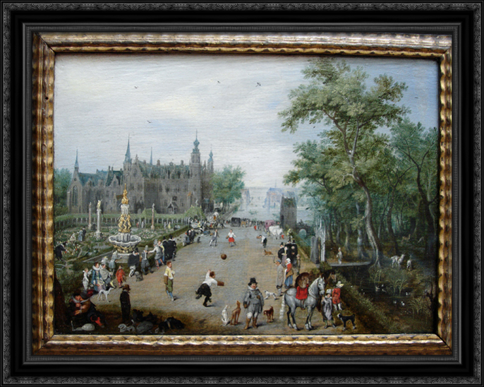 A Game of Handball with Country Palace in Background 36x28 Large Black Ornate Wood Framed Canvas Art by... by FrameToWall