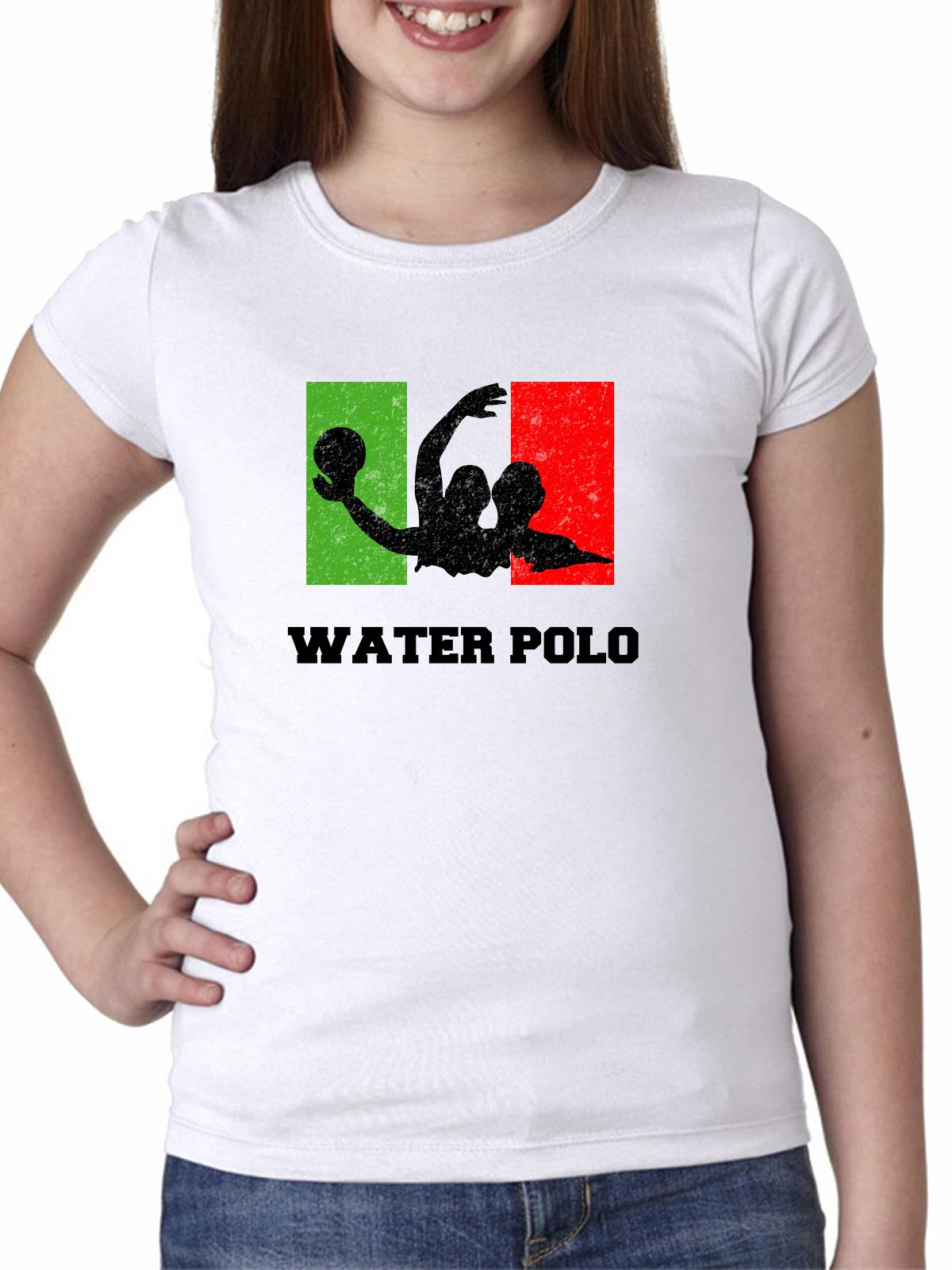 Italy Olympic Water Polo Flag Silhouette Girl's Cotton Youth T-Shirt by Hollywood Thread