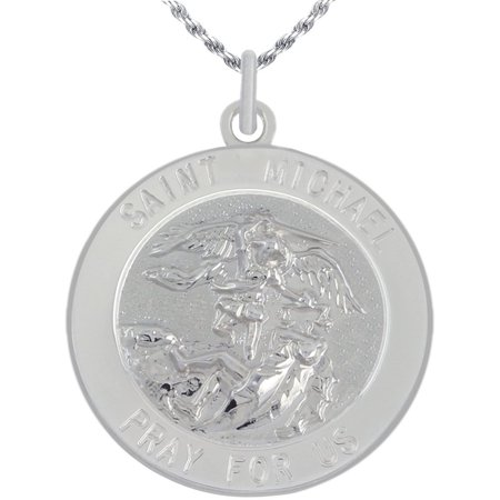 Michael Medal Necklace (7/8in Round 0.925 Sterling Silver St Saint Michael Medal Pendant Necklace )