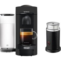 De'Longhi Nespresso VertuoPlus Coffee & Espresso Single-Serve Machine in Black Matte and Aeroccino Milk Frother in Black